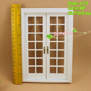 1/12 scale Double Hung 14 Panel French Glass Door White Dollhouse Miniatures